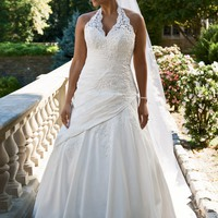 Taffeta Lace Halter A-Line with Side Drape - David's Bridal