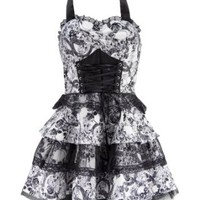 Black and White Skull 50s PinUp Rockabilly Retro Halloween Dress with Black Lace
