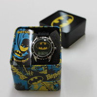 NEW BATMAN CHILDREN'S WATCH W/ BLACK RUBBER STRAPS & DC COMICS GIFT BOX
