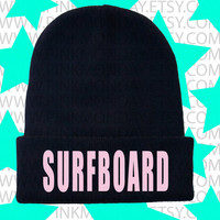 Surfboard Beanie Beyonce Embroidered Hat Skully Skull Cap Womens Yonce Black and Pink Drunk In Love Watermelon Yonce Queen Bey