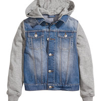 H&M - Denim Jacket with Hood - Denim blue - Kids