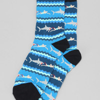 Shark Chase Stripe Sock- Blue One