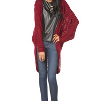 Long Cocoon Cardigan in Burgundy
