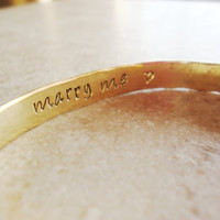 Marry me infinity handstamped brass bangle cuff bracelet true love proposal