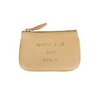 """Spend It All And Enjoy"" Clutch Bag - Beige - Small from Sept-Bruxelles"