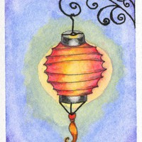 Paper Lantern 1 scroll work original Watercolor deco ACEO summer decor | amyelyseneer - ACEO on ArtFire