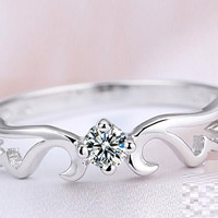 Angel Wing Silver Rings for Women S925 Sterling Silver Ring with Swarovski Diamonds Engagement Rings Valentine's Day Gift J044S
