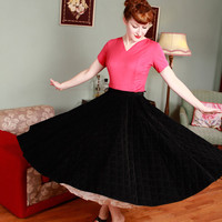 Vintage 1950s Skirt - Authentic 50s Quilted Corduroy Circle Skirt - Annabelle