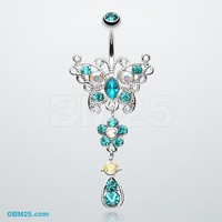 Glistening Butterfly Flower Belly Button Ring