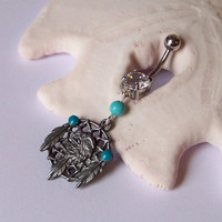Belly Button Ring - Body Jewelry - Navel Piercing - Belly Ring - Native Dream Catcher Eagle With Magnesite - READY TO SHIP