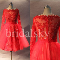 Short Red Lace Prom Dresses Long Sleeves Party Dresses Evening Dresses Homecoming Dresses