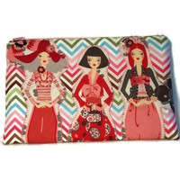 Clutch Purse Ladies Friends Zig Zag Cream Pink Red Zipper