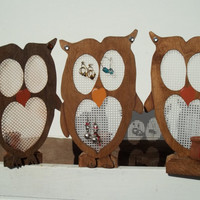 Owl Earring Holder Wooden Free Standing Bling Jewelry Hanger Colors Available