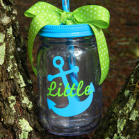 Personalized Sorority gifts! Big/little mason jar tumbler with anchor or any Customization~ pick your colors and design