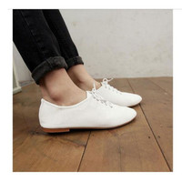NEW Women White Vintage Flats Heels Classics Lace Ups Dress Oxfords Shoes Size W