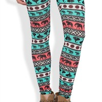 Legging with Multicolor Elephant Tribal Print