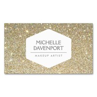 ELEGANT WHITE EMBLEM ON GOLD GLITTER BACKGROUND