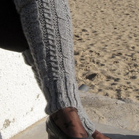 Hand Knit Leg Warmer, Womens Wool Leg Warmer, Legwarmer, Fall Autumn Winter,chrismas, Fashion Accessories, Charcoal gray legwarmer