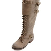 LACE-UP KNEE-HIGH FLAT BOOT