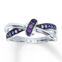 Purple Amethyst Ring Sterling Silver