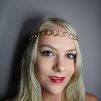 1920s Black Gold Chain Headband | Luulla