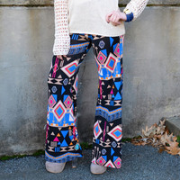 Forest Fever Blue Tribal Palazzo Pants