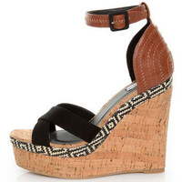 Not Rated Match Maker Black Pattern Play Platform Wedges-lulus.com