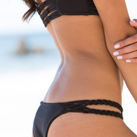 The Girl and The Water - Frankie's Bikinis - Mary Jane Bikini Bottom / Black - $88