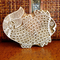Fish Stamp: Hand Carved Wood Stamp, Large Handmade Indian Printing Block, India Ceramic Tile Pottery Stamp