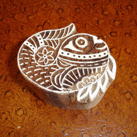 Fish Stamp: Indian Printing Block, Hand Carved Wood Block Stamp, Wooden Flower Stamp from India