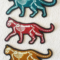 GLOW X-ray cat - Embroidered sew-on patch