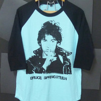 Bruce Springsteen shirt 3/4 sleeve baseball shirt Baby blue Cotton size S,M,L Unisex,women,men t shirt,shirt,tee