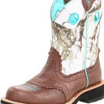 Ariat Women's Fatbaby Cowgirl Equestrian Boot,Brown Crinkle/Snowflake,8.5 M US