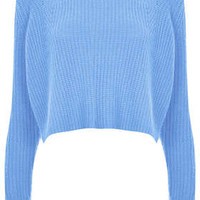 Knitted Rib Detail Crop Jumper
