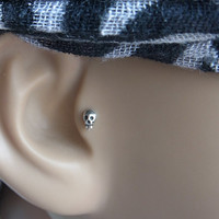 Mini Skull tragus / cartilage /helix earring - Single