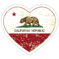 Love California Republic Heart Distressed