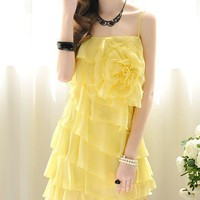 Ruffles chiffon strap dress yellow flowers dress