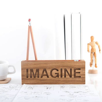 Desk organizer IMAGINE for pencils, brushes and pens. Natural wood.
