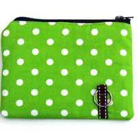 Coin Purse, Padded In Lime Dots | Luulla