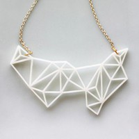 Handmade Gifts | Independent Design | Vintage Goods Geometric Prisms Necklace - Ivory