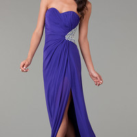 Floor Length Strapless Sweetheart Ruched Dress