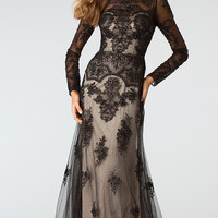 Full Length Long Sleeve Lace Embellished Dress