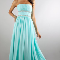 Long Strapless Prom Dress