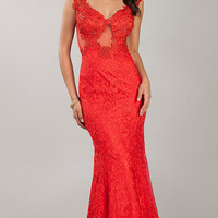 Floor Length Stunning Red Lace Prom Dress