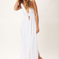 ANJELI PLUNGING EMPIRE MAXI DRESS