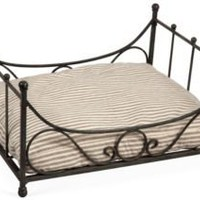 One Kings Lane - Gaye Tapp, Little Augury - Iron Dog Bed w/ Ticking Cushion