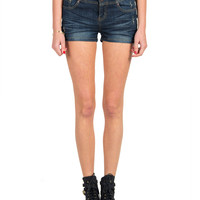 High RIse Three Button Denim Shorts