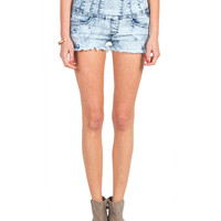 High Rise Side Zipper Denim Shorts