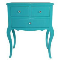 One Kings Lane - Bright Ideas - Wooden Side Table w/ 3 Drawers, Aqua