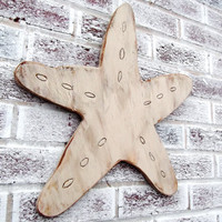 Beach Wedding Decor - guest book, beach house decoration STARFISH shaped wood sign - LARGE 18""